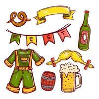 Octoberfest doodle pictogram ingesteld op geïsoleerde witte achtergrond