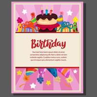 verjaardag partij poster met cake party en hoed vector