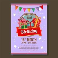 vlakke stijl verjaardag partij uitnodiging thema met verjaardagscadeau doos vector