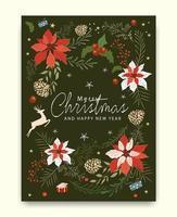 Merry Christmas wenskaart patroon vector