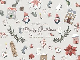 Verzameling van cute kerst elementen