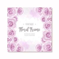 Mooie paarse aquarel Rose bloemen Frame vector