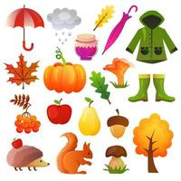 herfst pictogram vector set collectie