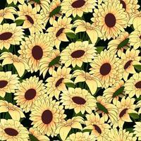 Gele bloemen in een geel vaaspatroon op een donkere achtergrond
