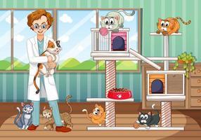 Dierenarts en veel katten in dierenhuis vector