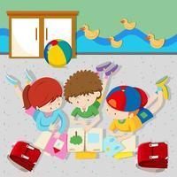 Kinderen lezen van boeken in de klas vector