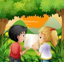 Kinderen bespreken met een boek in het bos vector