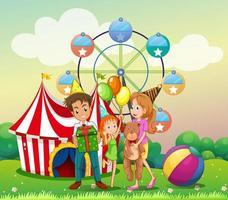 Een familie op het carnaval vector