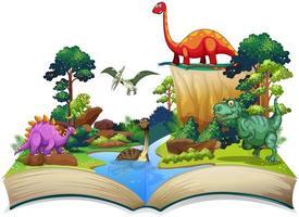 Boek van dinosauriërs in het bos vector