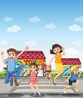 Een voetgangersgebied met een gelukkig gezin vector