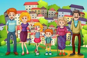 Een heuveltop met een groot gezin vector