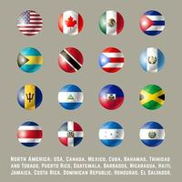 Noord-Amerika ronde vlaggen vector