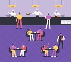 Koks koken, gasten dineren aan tafel, obers serveren. vector