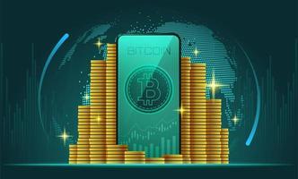 Cryptocurrency grafische achtergrond vector