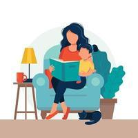 Moeder lezen aan dochter in vlakke stijl