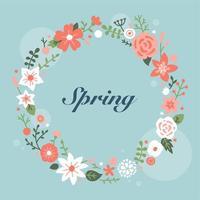 Mooie bloemen krans kaart. vector