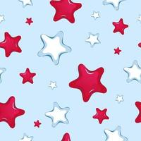 Naadloos vectorpatroon van beeldverhaal rode en witte sterren