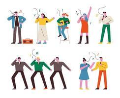 Mensen zingen, dansen en spelen muziekinstrumenten.