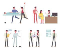 Artsen op het werk tekenset vector