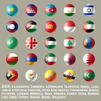 Azië ronde knop vlaggen twee vector