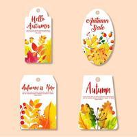 Mooie aquarel herfst labels-collectie