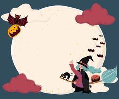 schattige platte vector een heks een magische bloei rijden, vliegen over de volle maan met kat en vleermuis