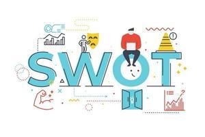SWOT sterke punten kansen en bedreigingen woord belettering illustratie woord belettering illustratie
