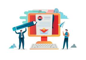 Mensen vullen online een formulier in vector