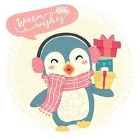 schattige blauwe vrolijke pinguïn draagt een sjaal en brengt geschenkdoos, winterkostuum, gelukkige warme wensen
