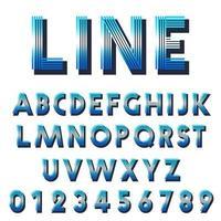 Retro lettertype sjabloon. Set van letters en cijfers lijnen ontwerp