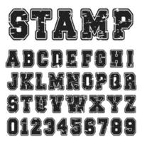 Alfabet lettertype zwarte stempel ontwerp vector