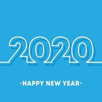 2020 gelukkig Nieuwjaar achtergrond sjabloon. Minimaal lijnontwerp voor typografie, drukproducten, flyers, brochurekaarten of uitnodigingskaarten vector