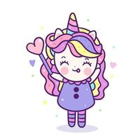 Kawaii Eenhoorn meisje in fancy cartoon schattige pony cartoon ziet eruit als zoete donut cake eten en drinken