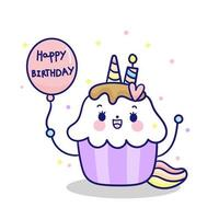 Gelukkige verjaardag Kawaii Cupcakes topping eenhoorn fee cartoon pony kind