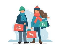 Winter verkoop, man en vrouw met boodschappentassen in de winter in vlakke stijl vector