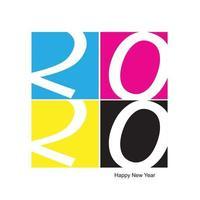 2020 Gelukkig Nieuwjaar CMYK-afdrukken vector