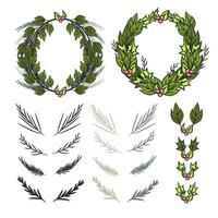 Kerst krans elementen premium vector