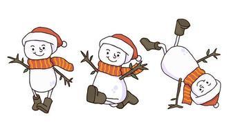 Kerst zorgeloze sneeuwpop handgetekende ontwerpen vector