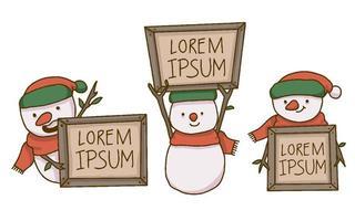 Kerstmissneeuwman die houten teksttekens houden