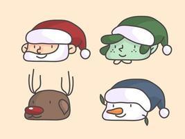 Kerst profielfoto van santa sneeuwpop dwerg en rendieren vector