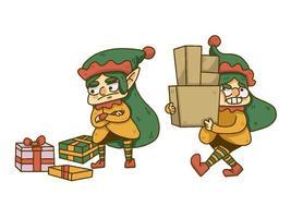 Kerstmis kabouter liftng dozen en dropping geschenken vector