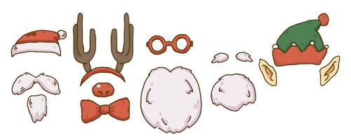 Kerst gezicht element ontwerp baard, hoorn hoofdband, bril, elf hoed, elf oren en kerstmuts vector