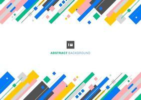 Abstracte sjabloonontwerp kleurrijke geometrische overlappende laag gestreepte diagonaal op witte achtergrond