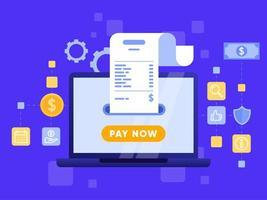 Mobiele betaling of overschrijving met laptop concept. vector