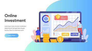 Online investering met laptopconcept.