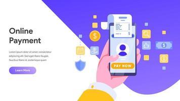 Mobiel betalen of geld overmaken concept. vector