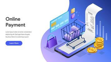Bestemmingspagina Online betaling met mobiele telefoon vector
