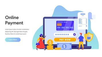 Mobiele betalingsoverdracht met laptopconcept. vector