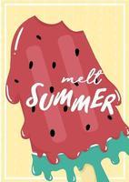 schattige zoete rode watermeloen gesmolten ijs ijslolly zomer kaart vector