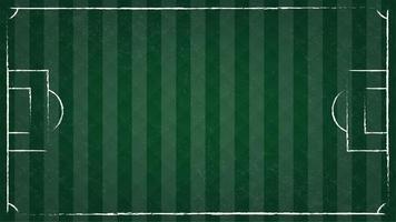 Bovenaanzicht van voetbal op groen gras en lijn van voetbalveld